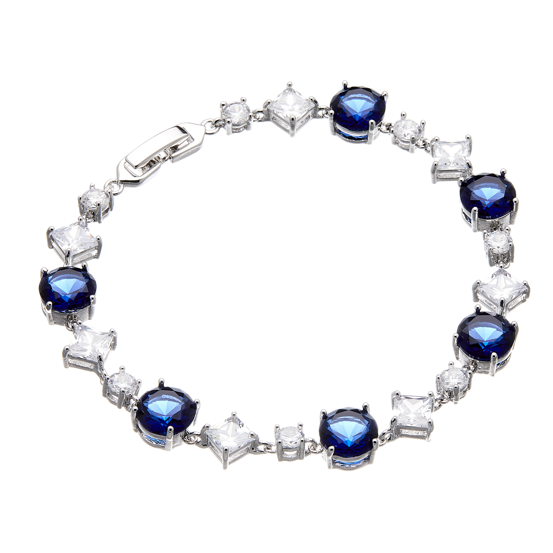 Bracelet - silver with navy blue Cubic Zirconia Stones and clear crystals - Narda