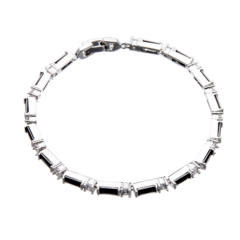 Tennis Bracelet - silver with black Cubic Zirconia Stones and clear crystals - Nascio