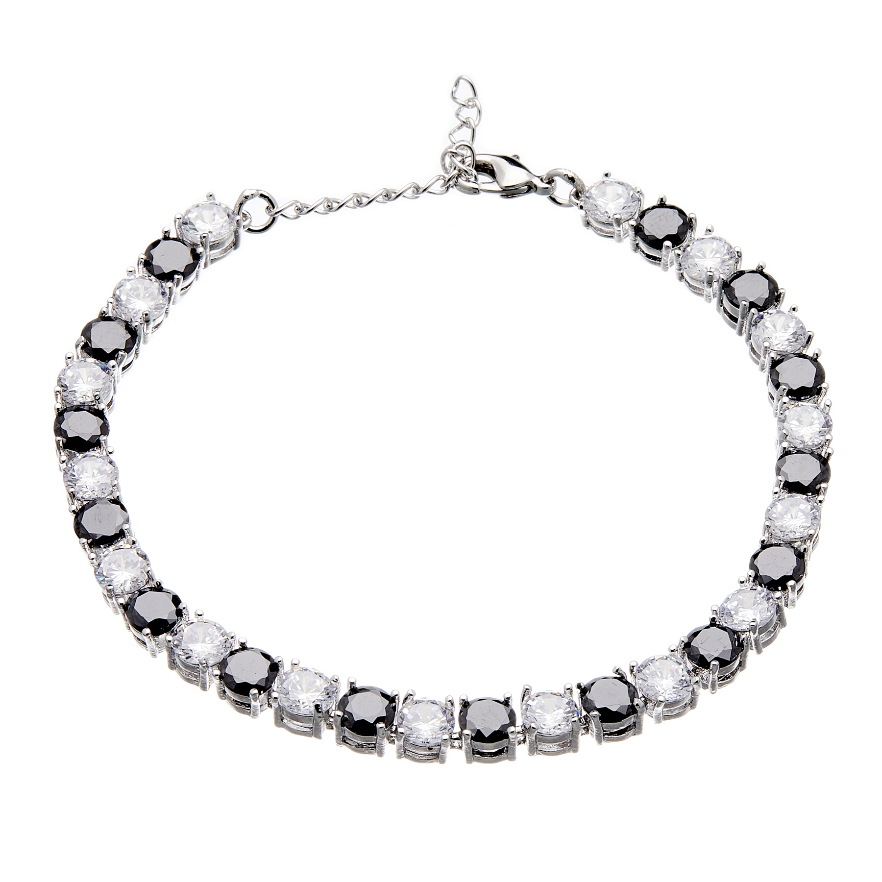 Bracelet - silver with black and clear Cubic Zirconia Stones - Nasha