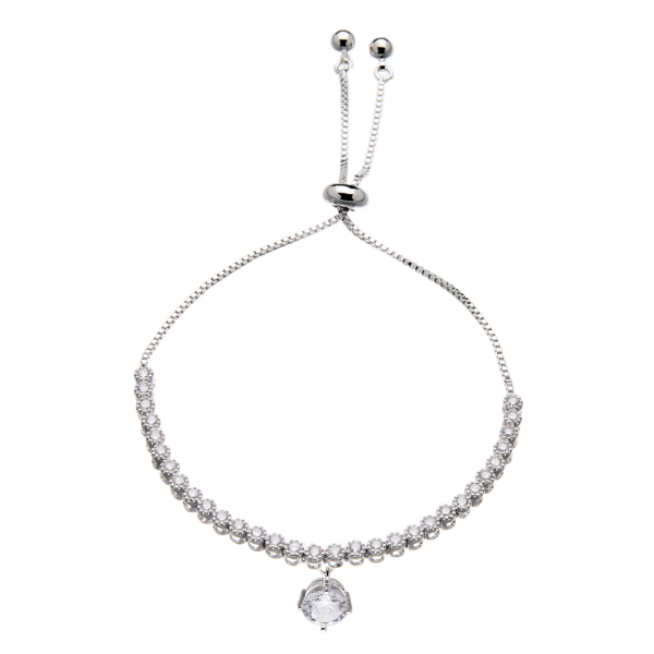 Silver Bracelet - adjustable sliding clasp with a drop Cubic Zirconia stone - Nea