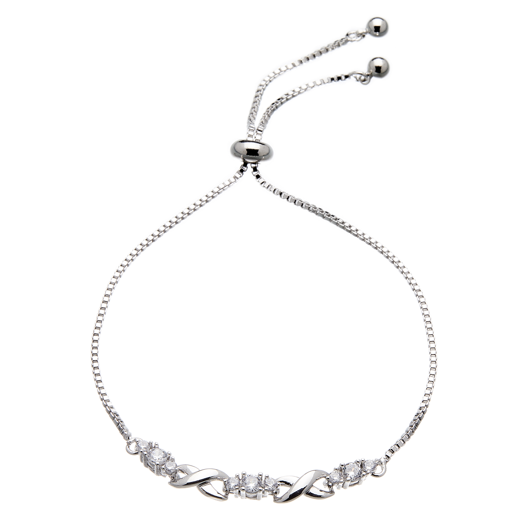 Silver Infinity Friendship Bracelet - adjustable sliding clasp with Cubic Zirconia Stones - Nadea