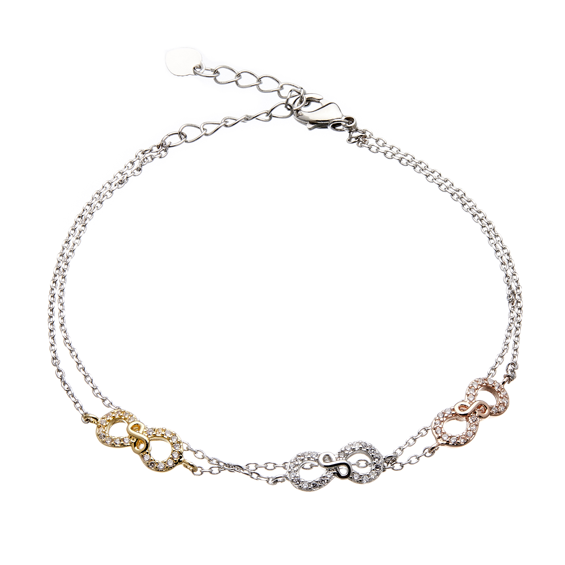 Infinity Friendship Bracelet - fine double chain with Cubic Zirconia crystals - Nayma