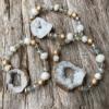 Bracelet with white agate beads and white druzy quartz stone – Jae W