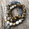 Set of three Bracelets with bluish grey agate and natural howlite beads – Jessie