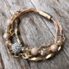 Antique matt gold magnetic clasp Bracelet with a crystal ball and pink beads – Jo