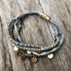 Antique matt gold magnetic clasp Bracelet with grey and silver beads – Jolie
