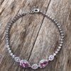 Silver Bracelet with pink and clear Cubic Zirconia stones – Nel