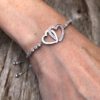 Love friendship Bracelet in silver with double linked hearts and crystals – Neola