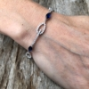Silver Bracelet with navy blue Cubic Zirconia Stones and clear crystals – Netis