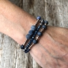 Three Bracelets with blue and champagne gold beads – Yori B01-06-02