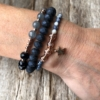 Three Bracelets – blue and champagne gold beads with a star charm – Yori B04-05-07