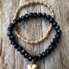 Set of two Bracelets – matt gold beads and navy blue with a heart charm – Yori B20-28
