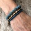 Set of three Bracelets with blue and matt gold beads – Yori B22-26-25