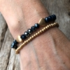 Set of two Bracelets – matt gold hearts and navy blue beads – Yori B24-21