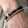 Set of two Bracelets – matt gold hearts and navy blue beads – Yori B24-21