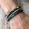 Set of three Bracelets with blue and matt gold beads – Yori B27-19-23