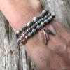 Three Bracelets – grey and champagne gold beads with a leaf charm – Yori G15-17-18