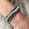 Three Bracelets with grey and champagne gold beads – Yori G16-11-12