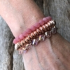 Set of three Bracelets with pink and champagne gold beads – Yori P31-38-29
