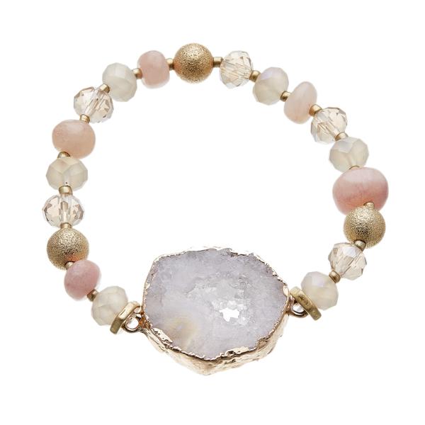 Bracelet with pink agate beads and lilac druzy quartz stone - Jae P