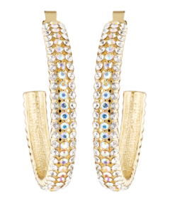 Clip On Earrings - Bera - gold hoops with gold and clear crystals