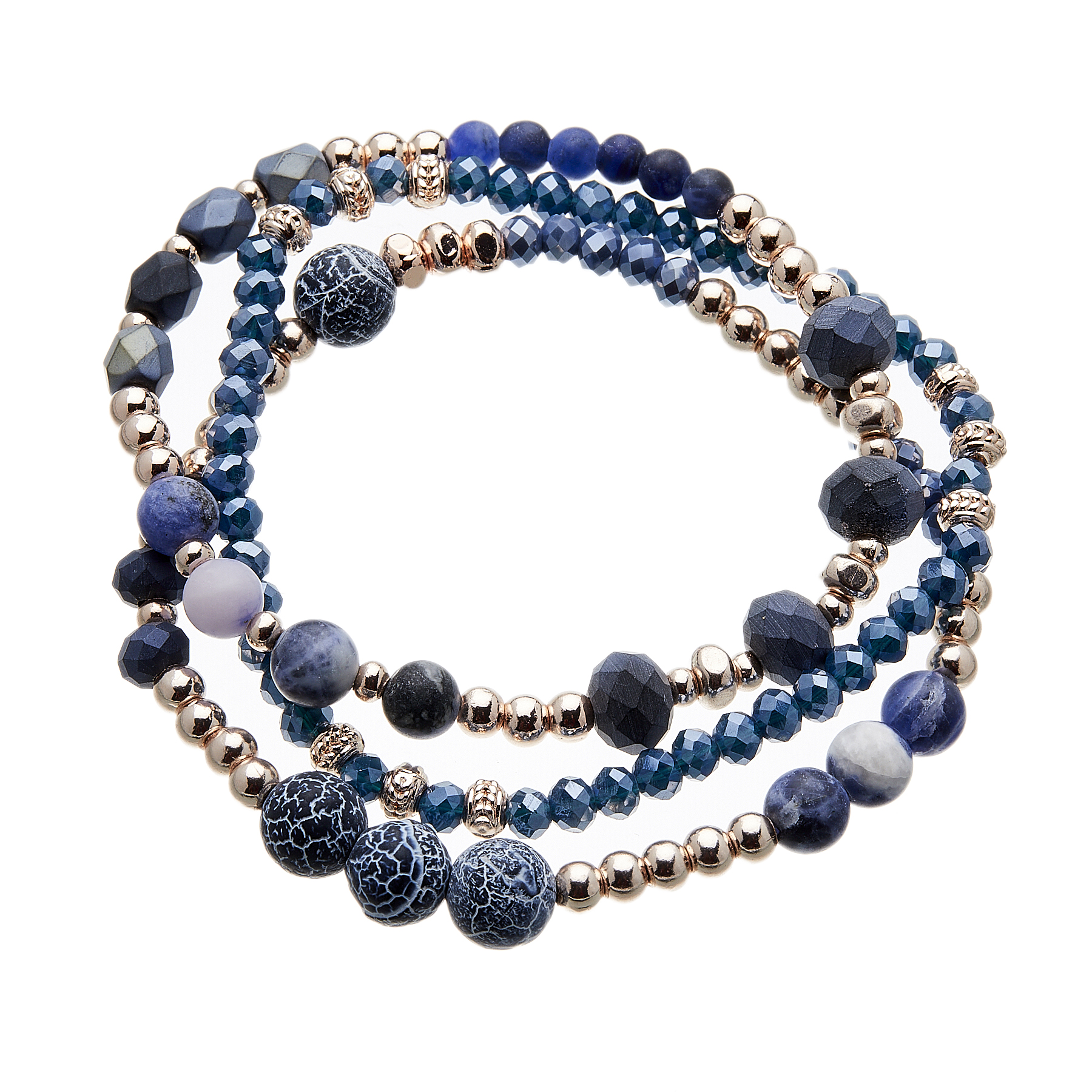 Three Bracelets with blue and champagne gold beads - Yori B01-06-02