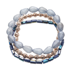 Three Bracelets with blue and champagne gold beads - Yori B03-08-09