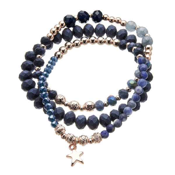 Three Bracelets - blue and champagne gold beads with a star charm - Yori B04-05-07