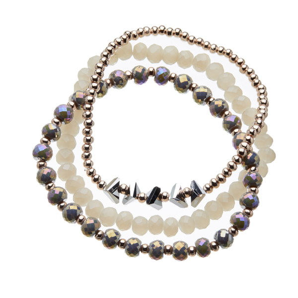 Three Bracelets with grey and champagne gold beads - Yori G14-13-10