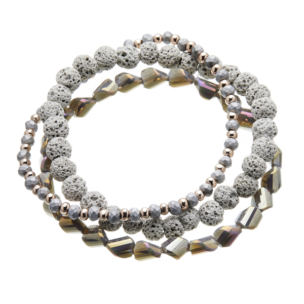 Three Bracelets with grey and champagne gold beads - Yori G16-11-12