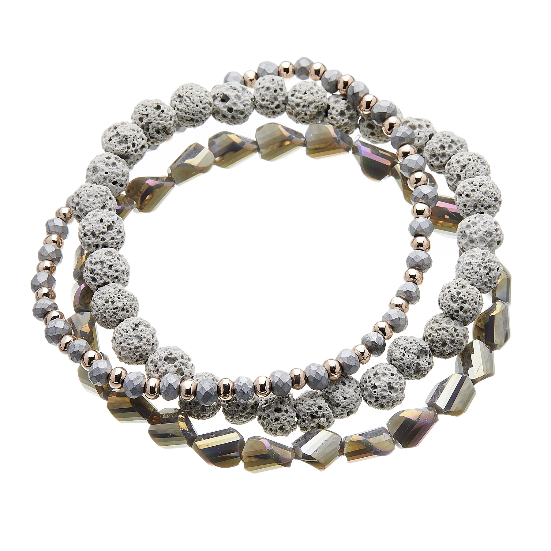 Three Bracelets with grey and champagne gold beads - Yori G16-11-12