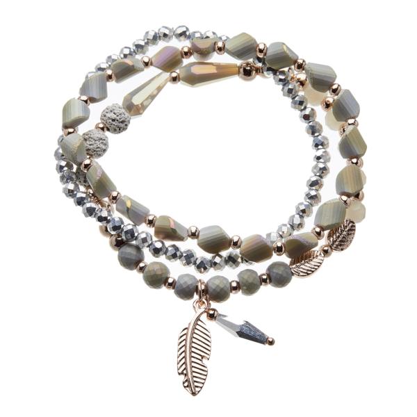 Three Bracelets - grey and champagne gold beads with a leaf charm - Yori G15-17-18