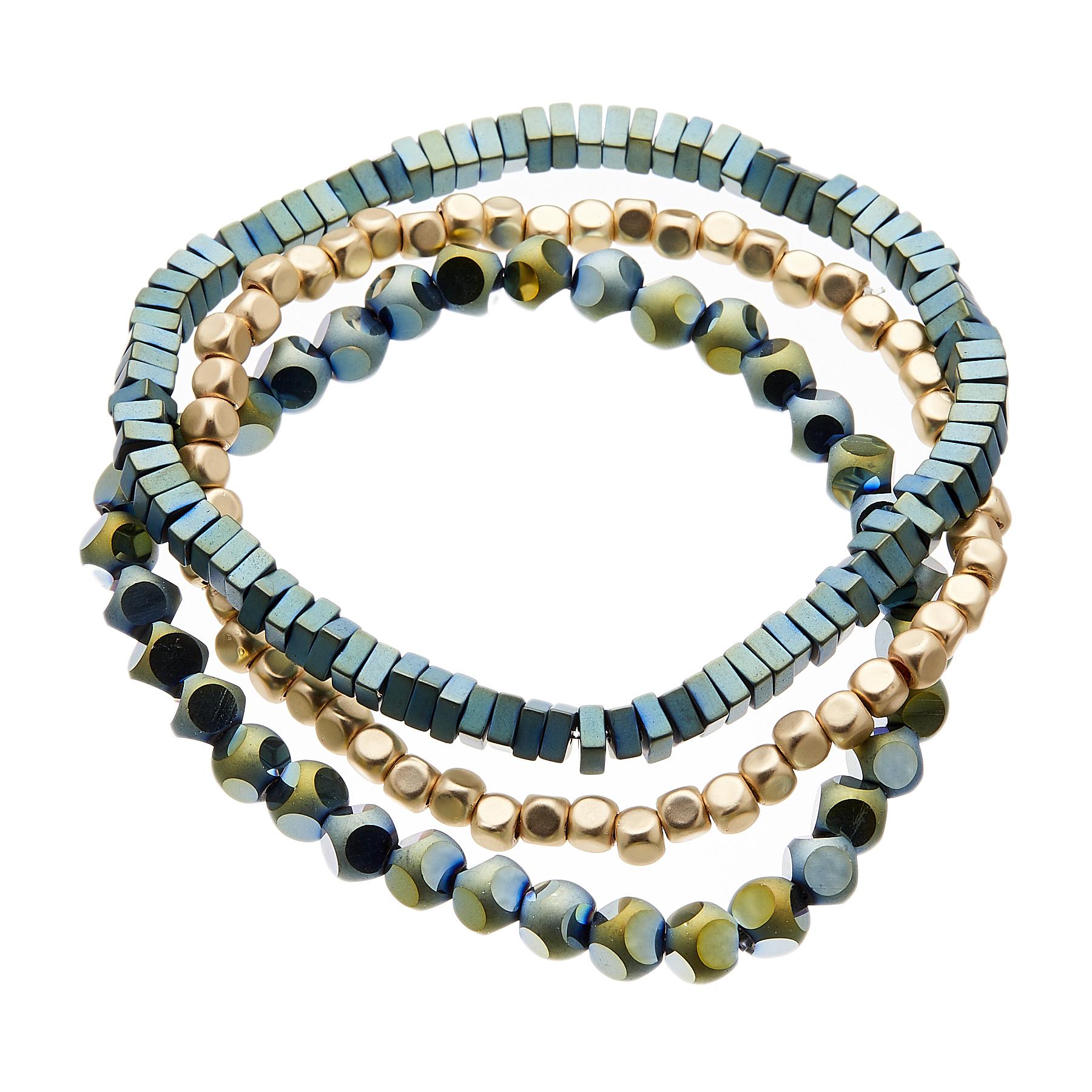 Set of three Bracelets with blue and matt gold beads - Yori B27-19-23
