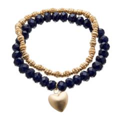 Set of two Bracelets - matt gold beads and navy blue with a heart charm - Yori B20-28