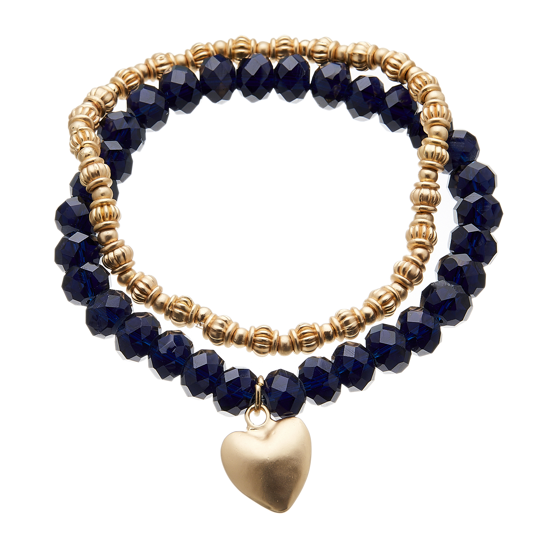 Set of two Bracelets - matt gold beads and navy blue with a heart charm - Yori B20-28