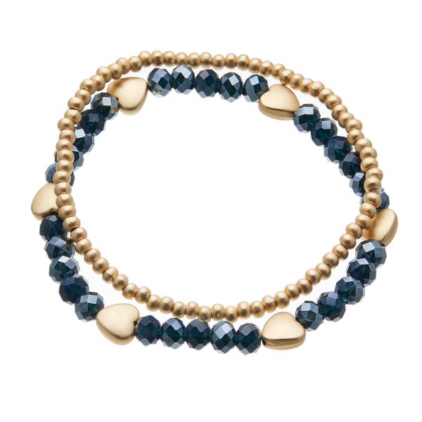 Set of two Bracelets - matt gold hearts and navy blue beads - Yori B24-21