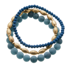 Set of three Bracelets with blue and matt gold beads - Yori B22-26-25