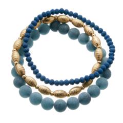 Set of three Bracelets with blue and matt gold beads - Yori B22-26-25