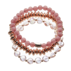 Set of three Bracelets with pink and champagne gold beads - Yori P31-38-29