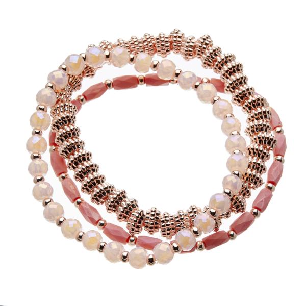 Set of three Bracelets with pink and champagne gold beads - Yori P34-35-30