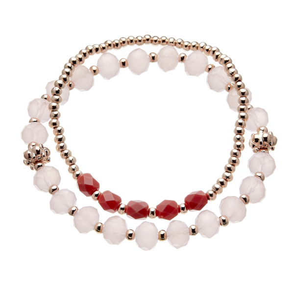 Set of two Bracelets with pink and champagne gold beads - Yori P33-32