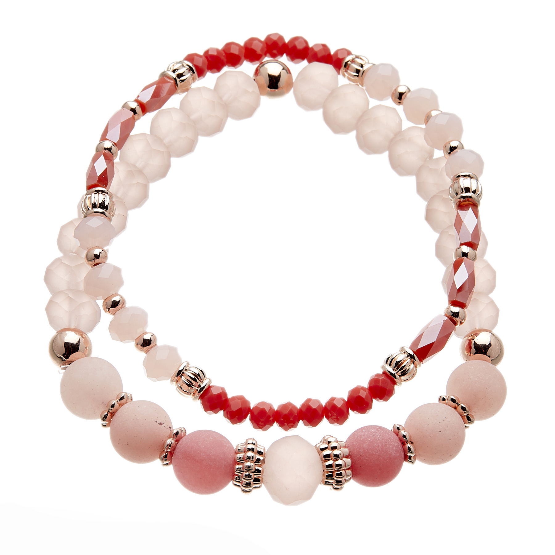 Set of two Bracelets with pink and champagne gold beads - Yori P37-36