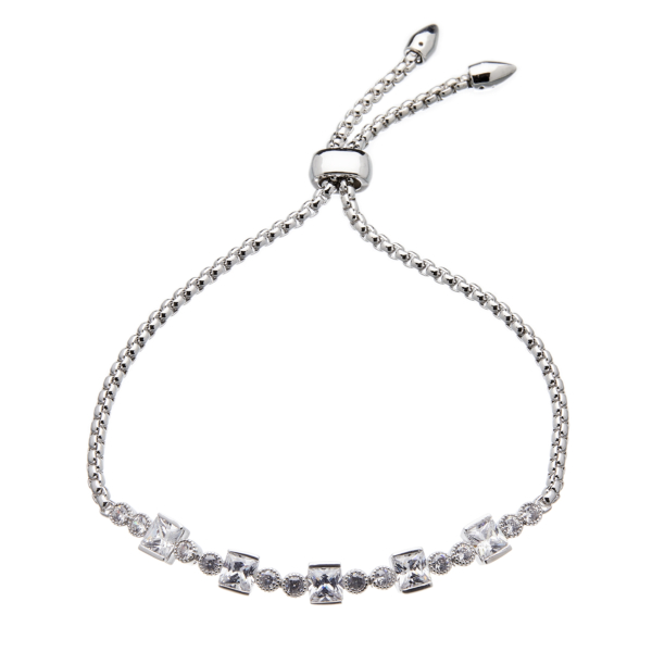 Silver adjustable Bracelet with square and round crystals - Nin
