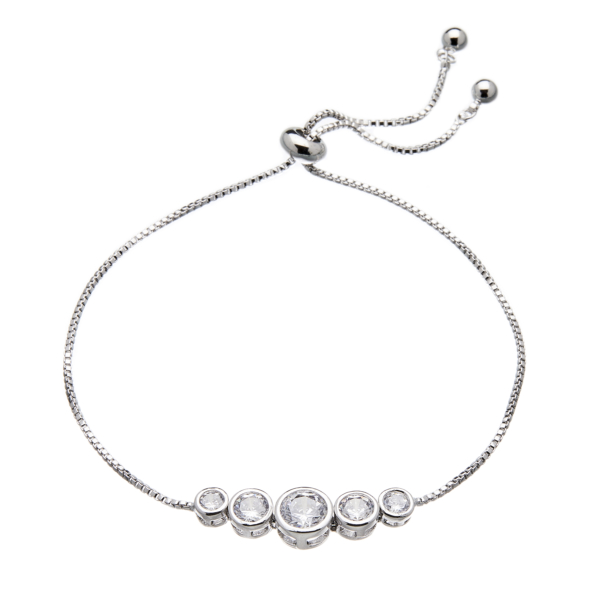 Silver adjustable Bracelet with five round CZ crystals - Netty