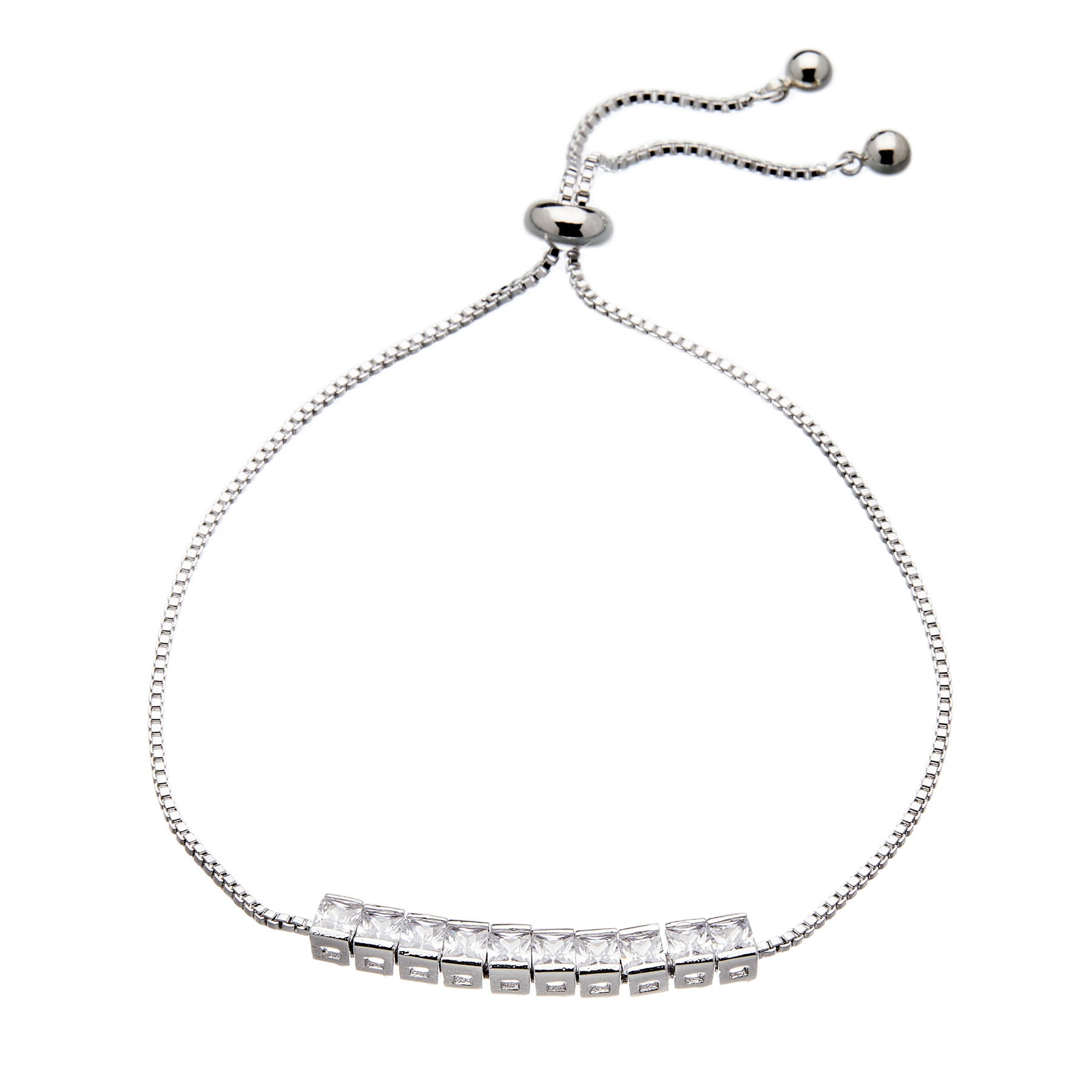 Silver Bracelet with an adjustable sliding clasp and sparkling clear crystals - Neris