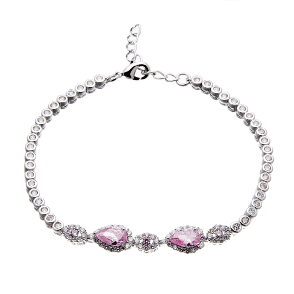 Silver Bracelet with pink and clear Cubic Zirconia stones - Nel