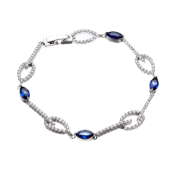 Silver Bracelet with navy blue Cubic Zirconia Stones and clear crystals - Netis