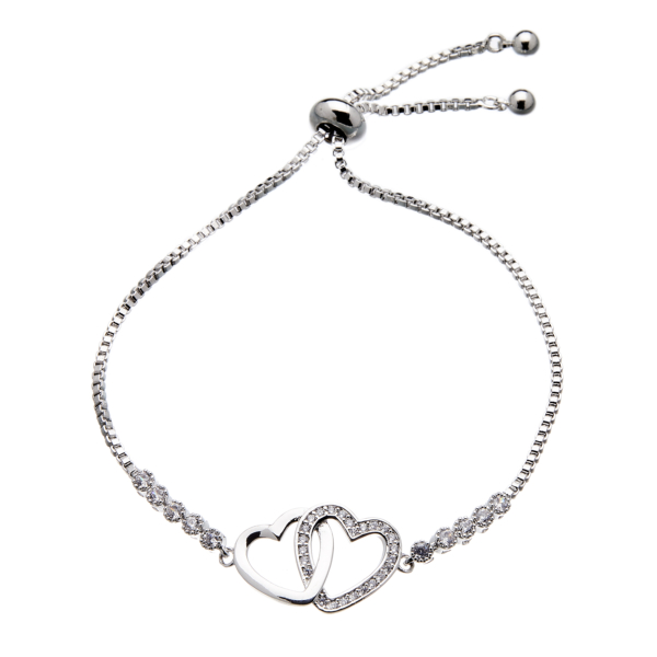 Love friendship Bracelet in silver with double linked hearts and crystals - Neola
