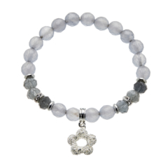 Grey jade beaded Bracelet with silver charms and crystals - Rae G01