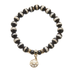 Black and white agate beaded Bracelet with gold charms and crystals - Rae B10